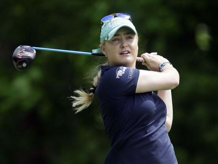 Charley Hull, of England, hits from the fifth tee during the second round of the LPGA Volvik Championship golf tournament at the Travis Pointe Country Club, Friday, May 27, 2016, in Ann Arbor, Mich.  Carlos Osorio, Associated Press