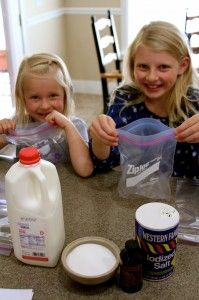 Baggie Homemade Ice Cream...easy (just milk, vanilla, and sugar) and the kids had fun