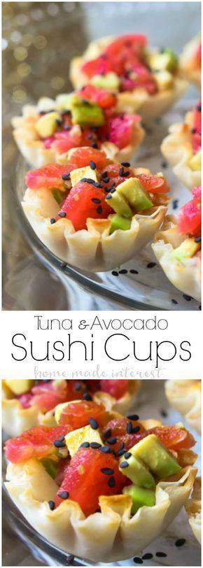Tuna Avocado Sushi Cups | This is an easy appetizer recipe that is perfect for a dinner party or cocktail party. Enjoy these Tuna Avocado Sushi Cups as a New Year's Eve appetizer. It is a sushi appetizer that anyone can make! #newyear #sushi #appetizer #newyearseve