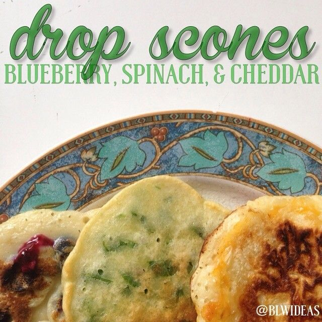 1. Blend 1 cup flour, 1 tsp baking powder, 1 egg, 2/3 cup milk. 2. Add mix-ins. (I made 6 total: two had blueberries, two had chopped spinach, and two had cheddar cheese.) 3. Lightly fry 2-3 minutes on each side.