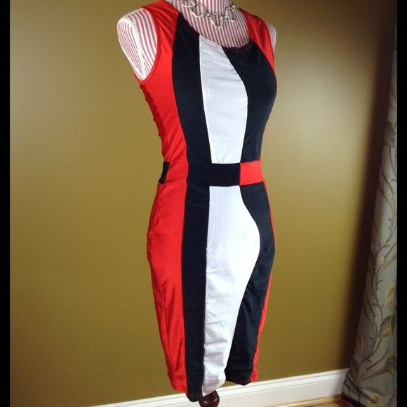 Red, Black, and White Body Dress Nice body dress in red, black, and white. Also cute with a blazer.Length: 36 inches Bust: 15 inches. Brand new.  ❌NO TRADES❌ Dresses Midi