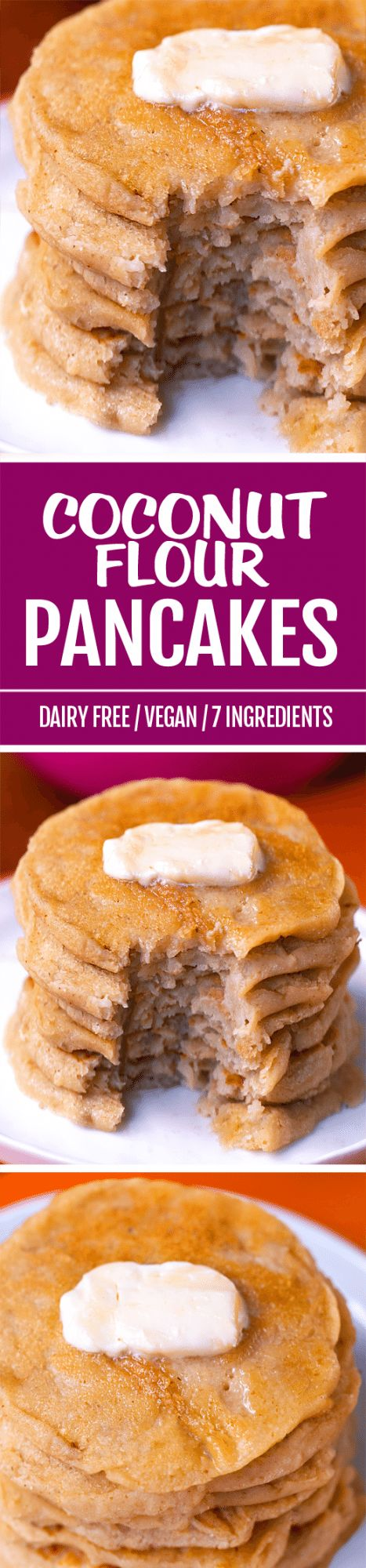 Soft, fluffy coconut flour pancakes made from scratch - with no eggs or gluten!