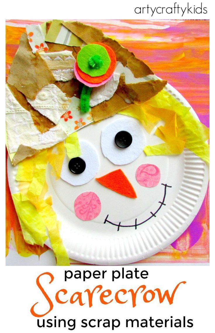 paper plate scarecrow Paper plate scarecrow - kid craft to finish your paper plate scarecrow craft, staple/glue on all the scarecrow features to the paper plate and display proudly.