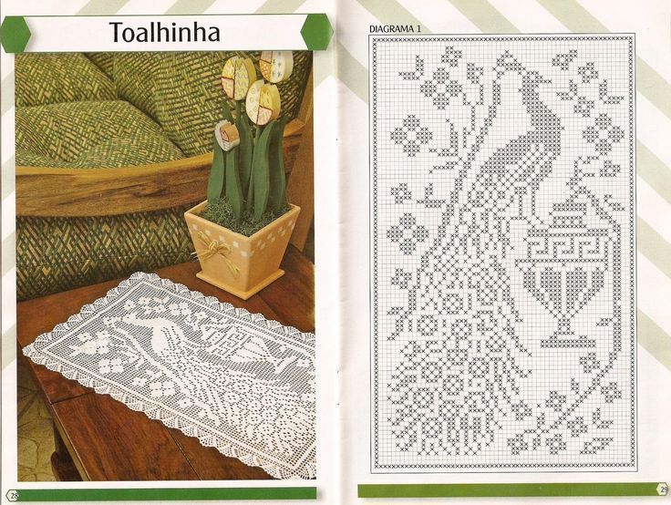 carpeta pavo real + esquema | yarnables - filet crochet | Pinterest