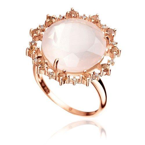 Anel em ouro rosé 18k, 5,5 pts de diamantes brown, 1 quartzo rosa e 11 andaluzitas - Coleção Antoniette