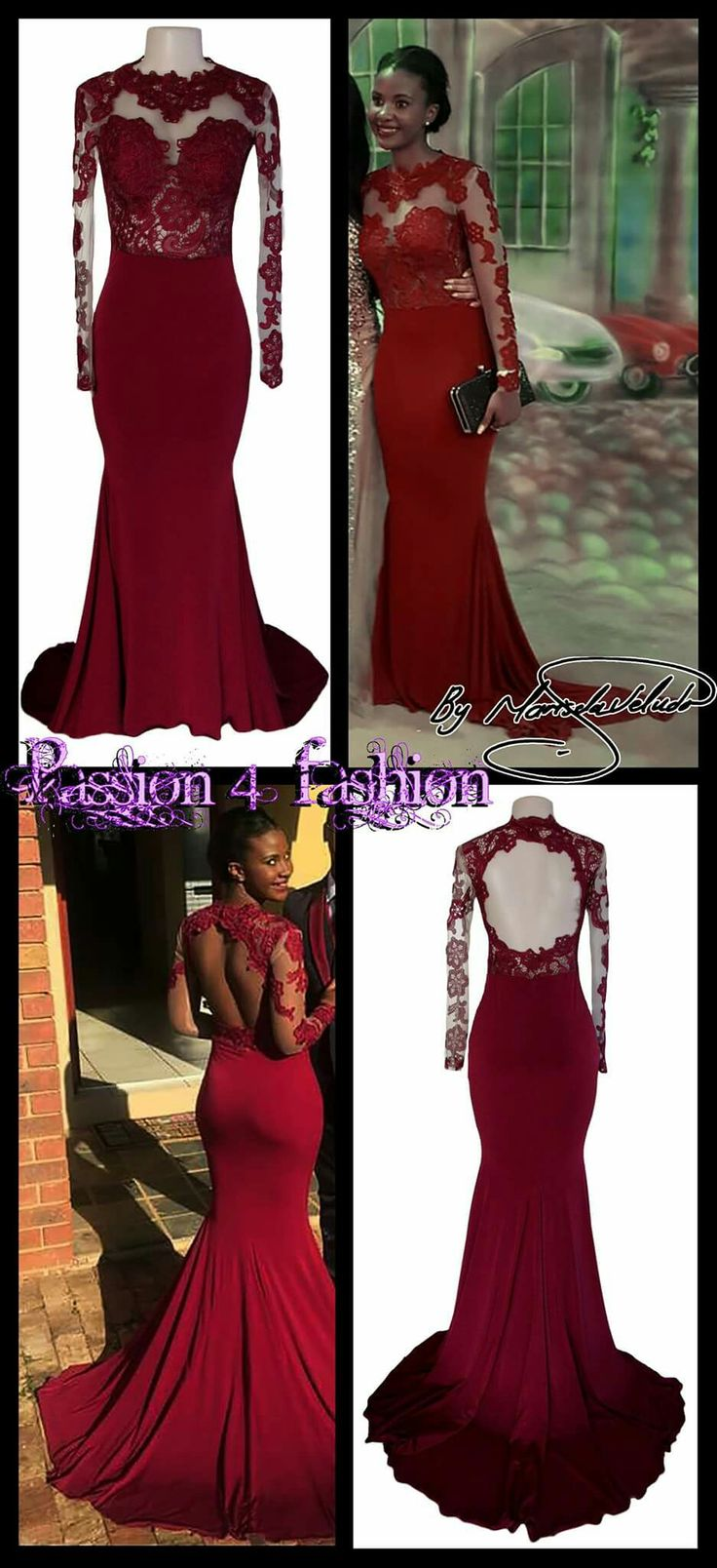 Deep Red Maroon Lace Bodice Soft Mermaid Dress With A Rounded Open Back Long Sheer Sleeves And