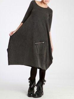ASYMMETRIC COTTON DRESS WITH AGED FINISHED
