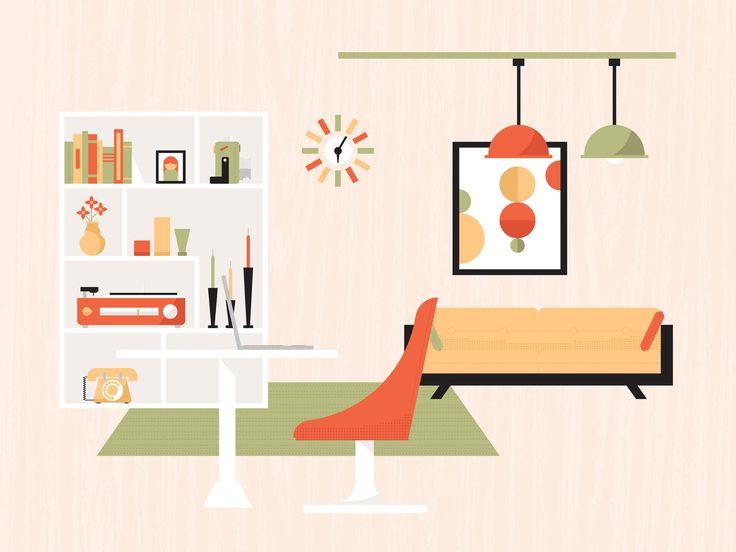 Mid-Century  Modern Living Flat Vector Illustration - Dangerdom Studios
