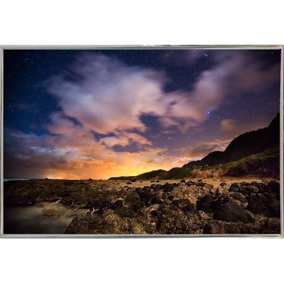 Bay Isle Home 'Kaena Point Night' Photographic Print Format: Metal Silver Framed
