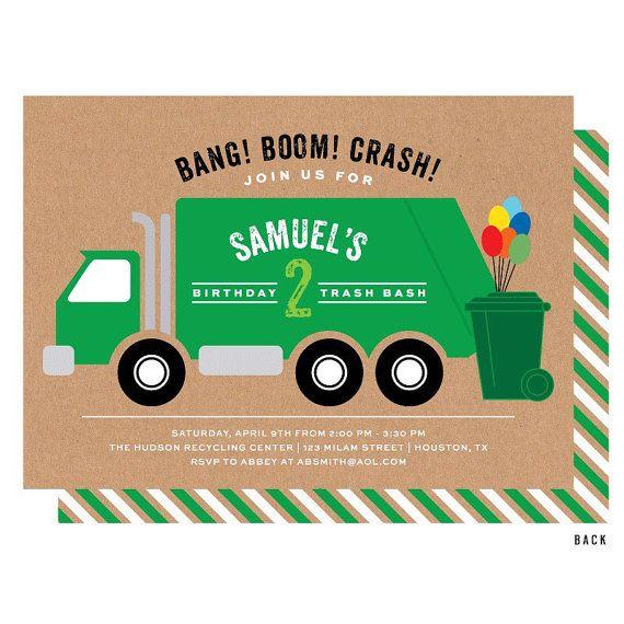 garbage truck invitation trash bash birthday party invitations