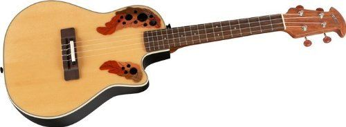 Applause by Ovation UAE148-4 Ukulele by Applause by Ovation. $299.00. The roundback design puts a new spin on a traditional shape. the styling is similar to the ovation elite guitars. features include: spruce top, walnut bridge, nato neck with rosewood enforcement strip, epaulette sound-hole design, rosewood fingerboard. Save 50%!