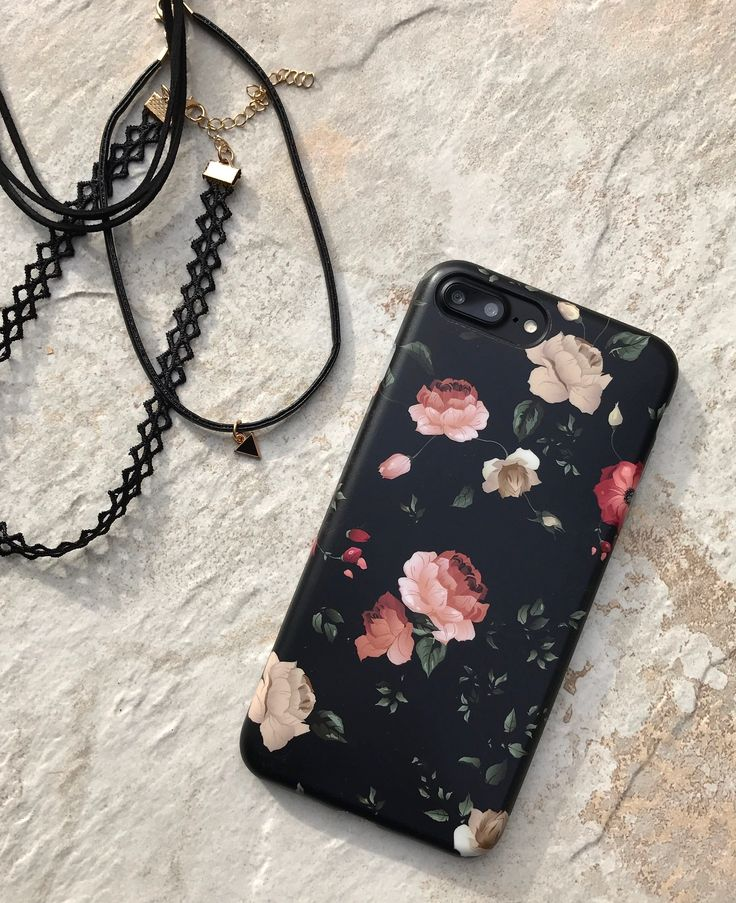 Dark Rose on Jet Black iPhone 7 Plus. Available for iPhone 7 & iPhone 7 Plus from Elemental Cases.