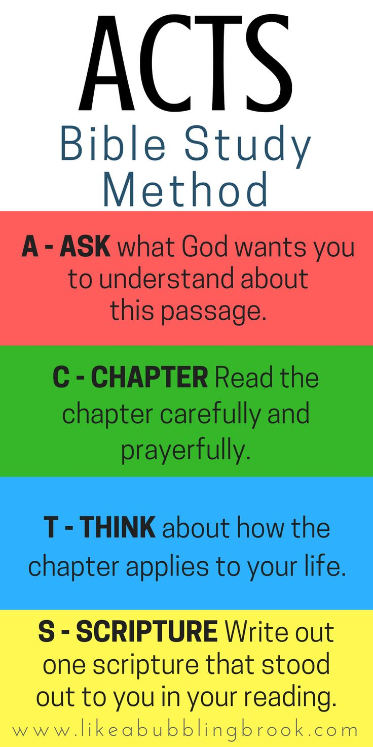 The ACTS Bible Study Method. This is so easy to remember! This simple acronym will help you dig deeper into the Bible and get closer to God. Use it as you do your daily bible reading!