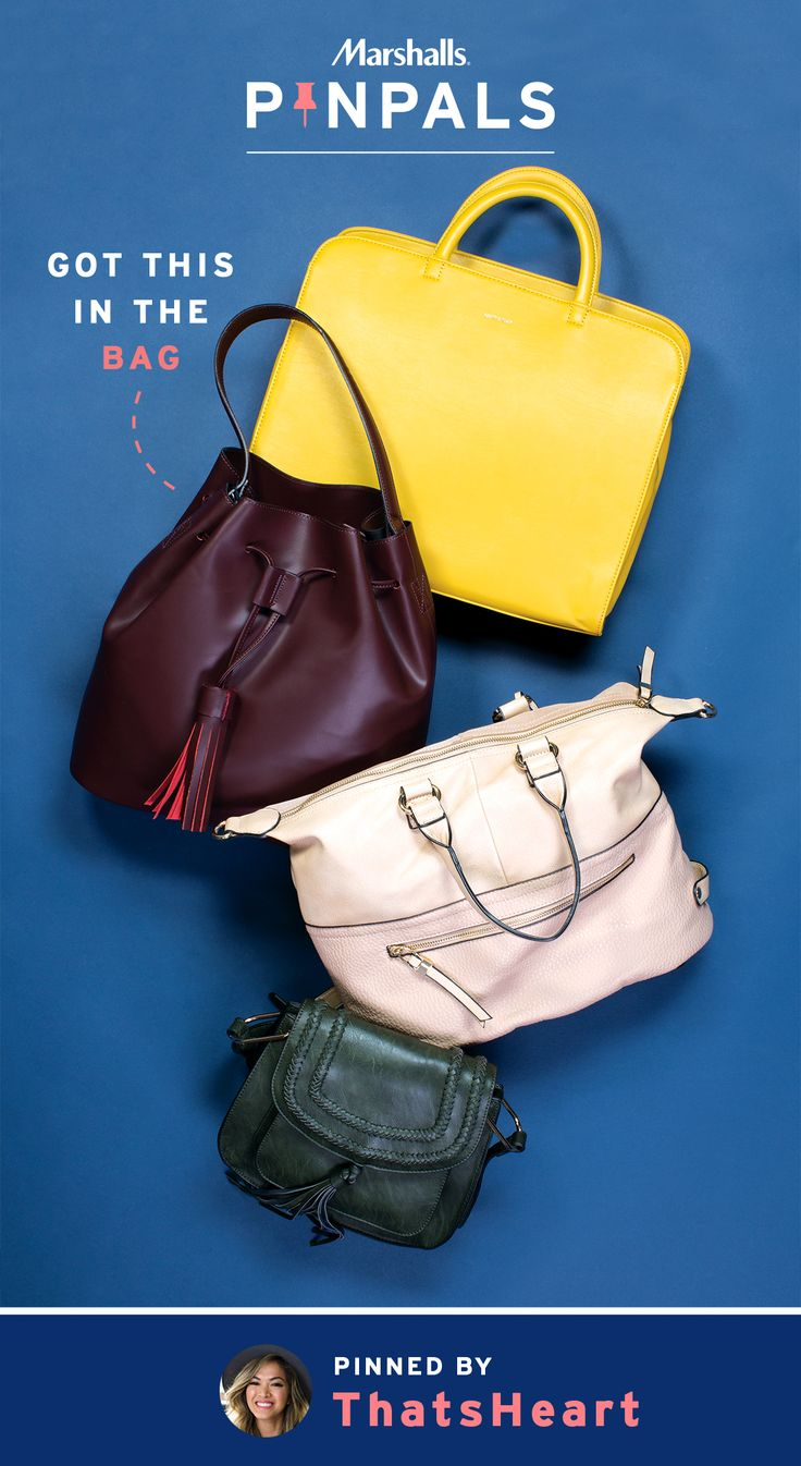 Rushing from the office to a social gathering requires purses both versatile and stylish. In fresh colors and fun designs (the yellow even boasts laptop space!), these four bags can all play double duty. Fashion and beauty vlogger, ThatsHeart, just knew her Pin Pal needed to have these. Inspired by this pin? Save it and you could be surprised by a Pin Pals box tailored to your style! Now that's a true #MarshallsSurprise. #Contest rules: http://marshallspinpals.dja.com/