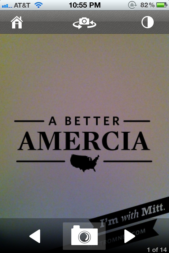 "So here's a screenshot of Republican Presidential Candidate and Mormon Mitt Romney's new smartphone app... Smacks of that Bush idiot from a few years back, no? Just putting that out there America. So please do the world a favour - vote wisely. Heck, vote for the guy who can, at the very least, spell ""America."" Fuck's sake."
