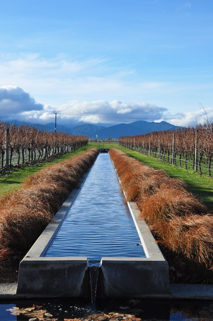 The water feature at Villa Maria winery in Marlborough New Zealand