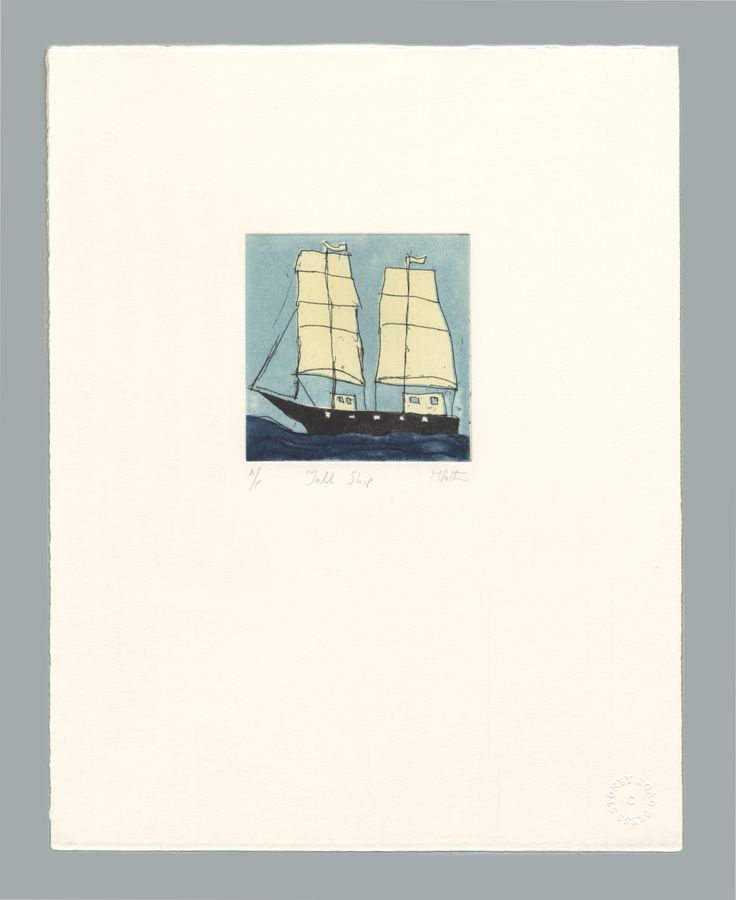 'Tall Ship' by Michael Patten, 2016 Intaglio on Zerkall 350 gsm paper. Sheet size 33 x 42.5cm
