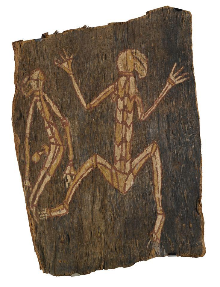 "Wanurr Namundja (""Bob"") circa 1928-2007 NAMARNDE FROLICKING Natural earth pigments on eucalyptus bark Natural earth pigments on eucalyptus bark (eucalyptus tetradonta) 65cm by 40cm"