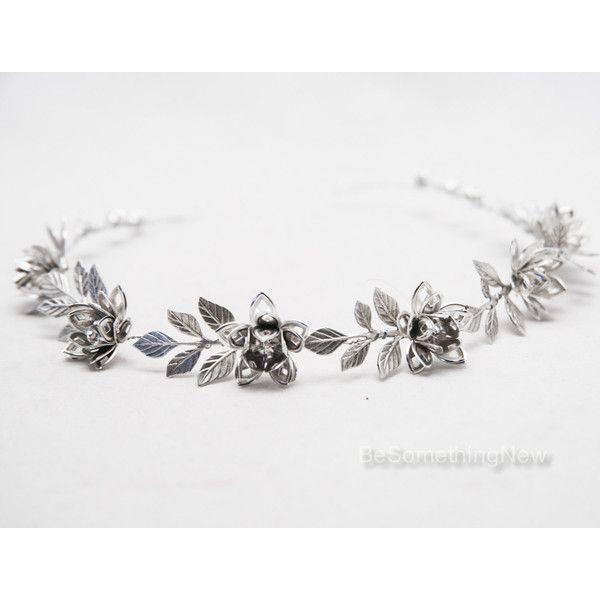 Grecian Silver Metal Leaf and Flower Headband Silver Wedding Headpiece... ($55)…
