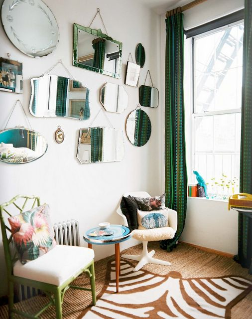I like the idea of hanging all kinds of mirrors on the walls of the salon - mirror  gallery wall