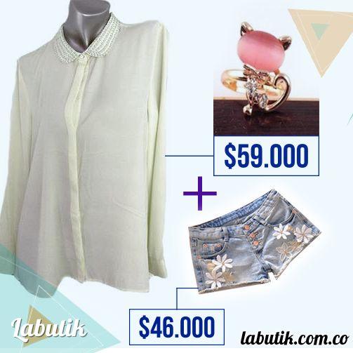Una combinación que nunca falla: camisa blanca y shorts en jean. Consíguelo en www.labutik.com.co