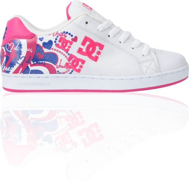 DC Shoes For Girls | DC Shoes Girls Pixie I Heart White, Crazy Pink &