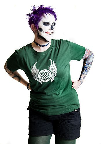 SkullDozer in a green ladies tshirt. £10. Photo by Shirlaine Forrest