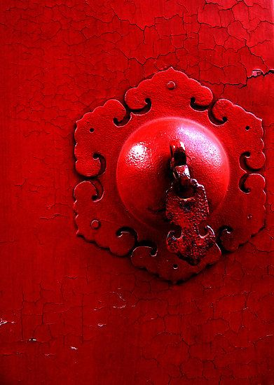 red door pull, marvelous crackle in the paint.