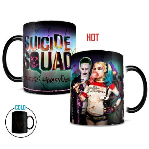 Enjoy this villainous morphing mug that shows the lovable Harley Quinn and The Joker from the Suicide Squad movie. It's looks like a black mug until you add hot coffee, hot tea or any other hot bevera