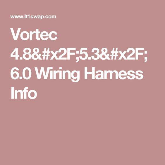 Vortec 4.8/5.3/6.0 Wiring Harness Info | Info, Harness, Ls ...