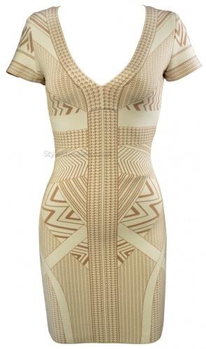 Gold Geometric Print Bandage Dress