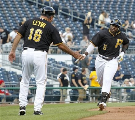Pittsburgh Pirates' Josh Harrison (5) Is congratulated after a home run: Big League, Josh Harrison, Pittsburgh Pirates