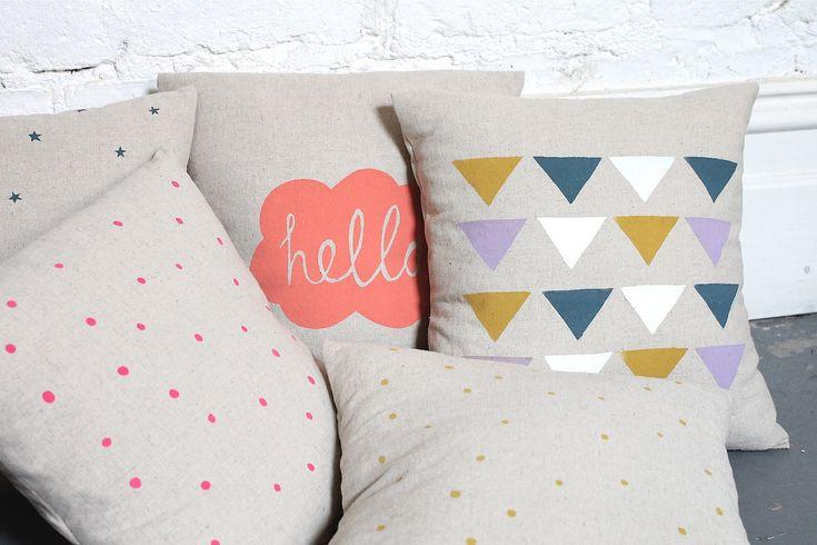 Hand Printed Linen Cushion Cover - Hello. $34.00, via Etsy.