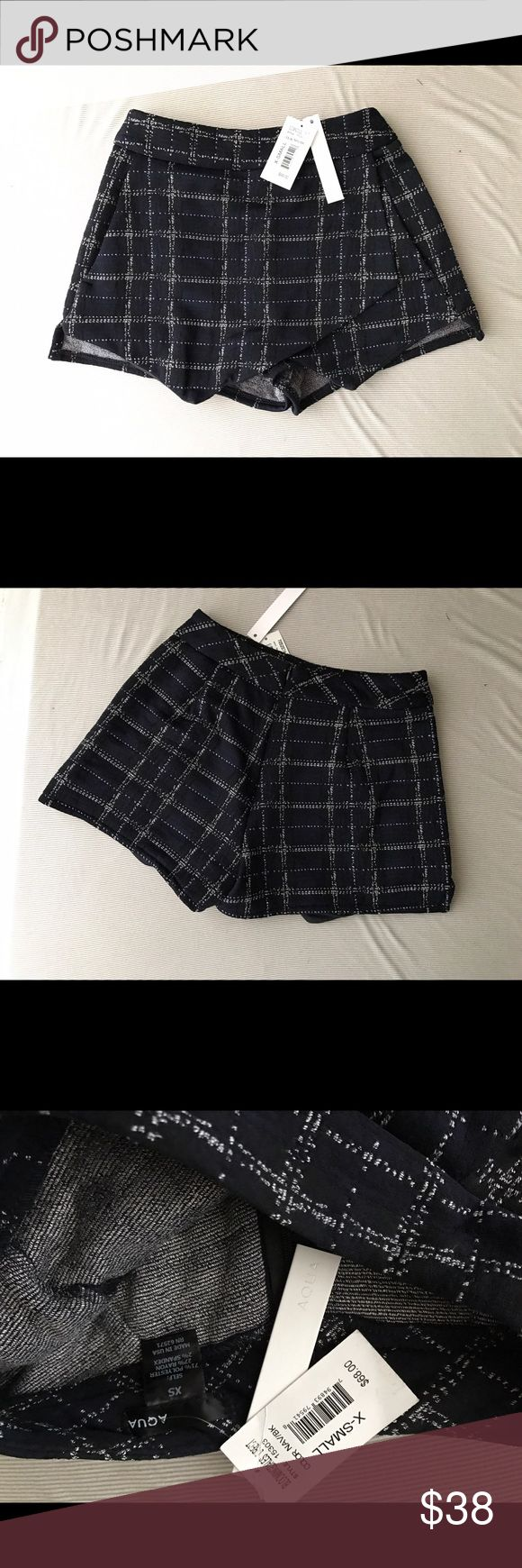 """Navy Black Plaid High Waisted Skort Short Skirt XS fits 00-1 or 23-25"""" waist, my waist is 25"""" or size 1 and it's a little tight so maybe perfect for 24"""" Aqua Shorts Skorts"""