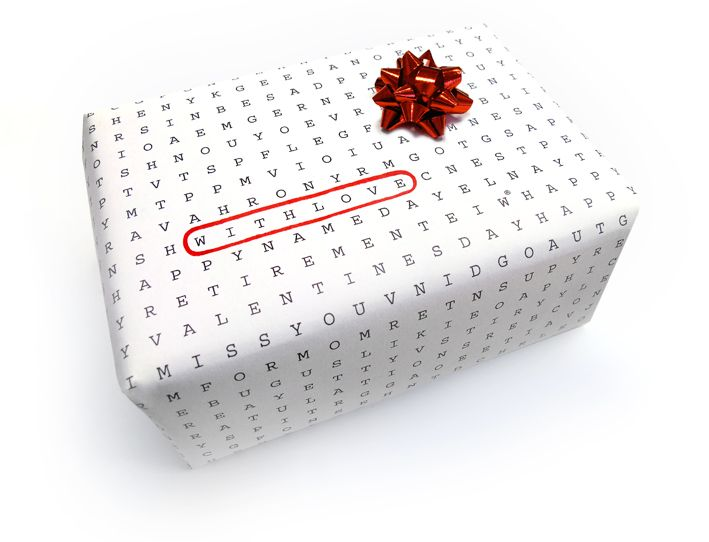 crossword wrapping!: Words Puzzles, Paper Gifts, Gifts Ideas, Gifts Wraps, Univ Wraps, Words Search, Wordsearch, Wraps Paper, Search Wraps