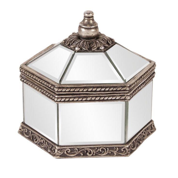 9 in. W x 9 in. D Hexagonal Mirrored Jewelry Box