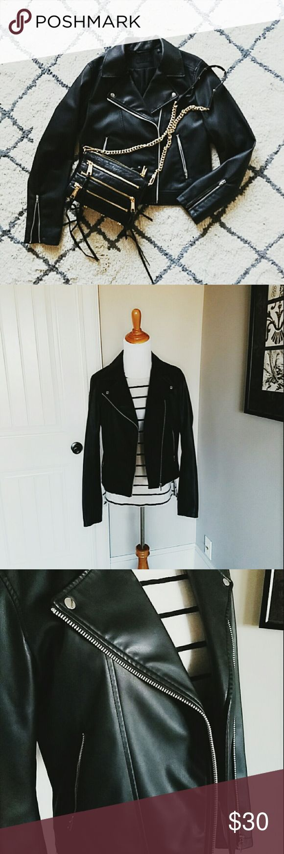 UNIQLO faux leather moto jacket size m classic black moto jacket from UNIQLO, bought it a couple of months ago, size m. worn a handful times, great condition Uniqlo Jackets & Coats