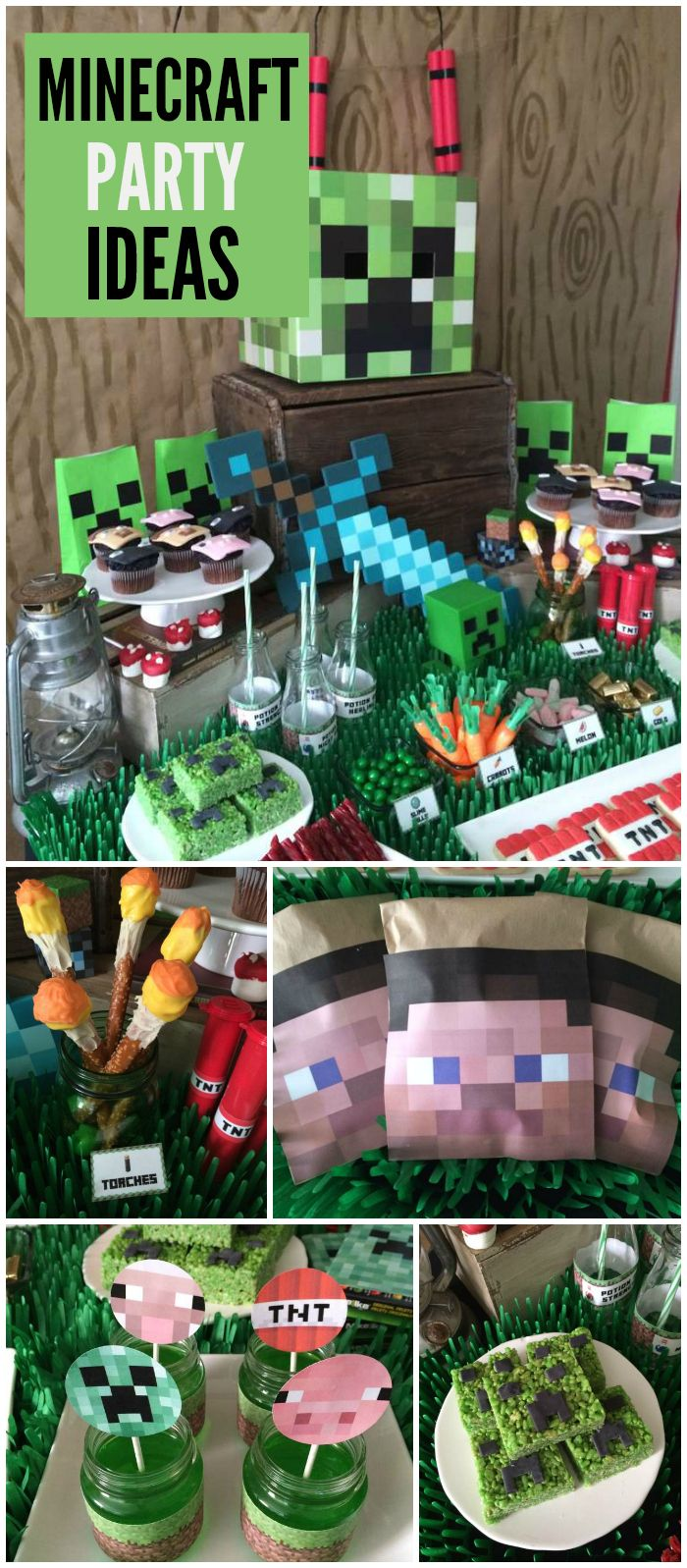 This Minecraft party is so cool! Creeper treats and Steve goodie bags! See more party planning ideas at CatchMyParty.com!
