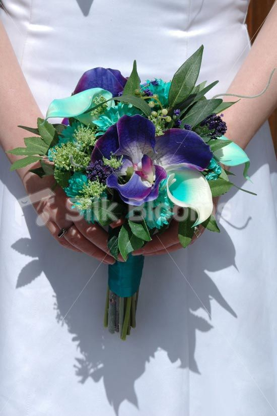 Modern, Vibrant Jade Green and Purple Bridesmaid Wedding Bouquet