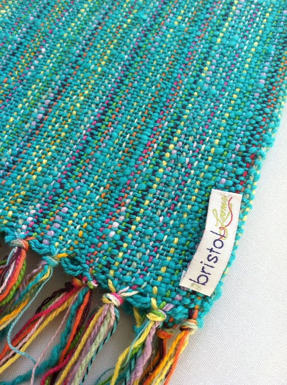 Teal Scarf Hand Woven by bristolloomsri on Etsy, $50.00