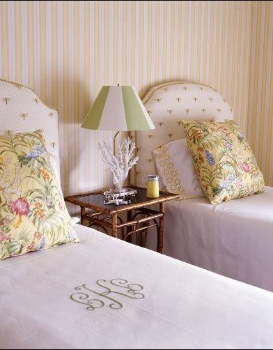 twin beds with monogramed coverlets - ♥