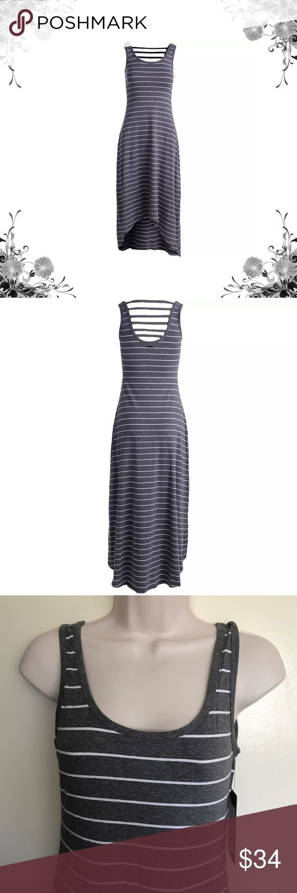 """Marc New York by Andrew Marc Striped Maxi Manufacturer Color is Heather Gray/White. Sleeveless Pullover Maxi Dress. Striped. Total Length is approx 55"""". Bust Across is approx 15 1/2"""". Waist Across is approx 14"""". Material is 57% Cotton/38% Modal/5% Spandex. Fabric Type is Jersey. Hi-Low. Bundle for discounts! Thank you for shopping my closet! Andrew Marc Dresses High Low"""