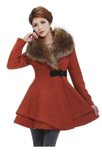 BESTSELLER! DYF Wool Blends Coat Fuax Fur Collar Winter Trench Coat Women $89.99