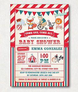 Circus Baby Shower Invitation Vintage Carnival Party Invite FOX Elephant Bear | eBay $1