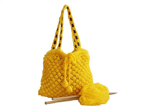 VALENTINES DAY SALE.. Amazing knitting bag- Yellow bag- Autumn and Fall handbag- Useful handbag- Daily bag- Leather handle. $50.00, via Etsy.