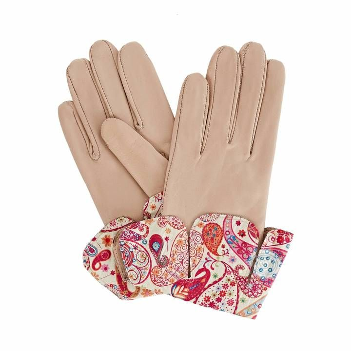 Gizelle Renee - Palesa Beige Leather Gloves With MD Liberty Tana Lawn