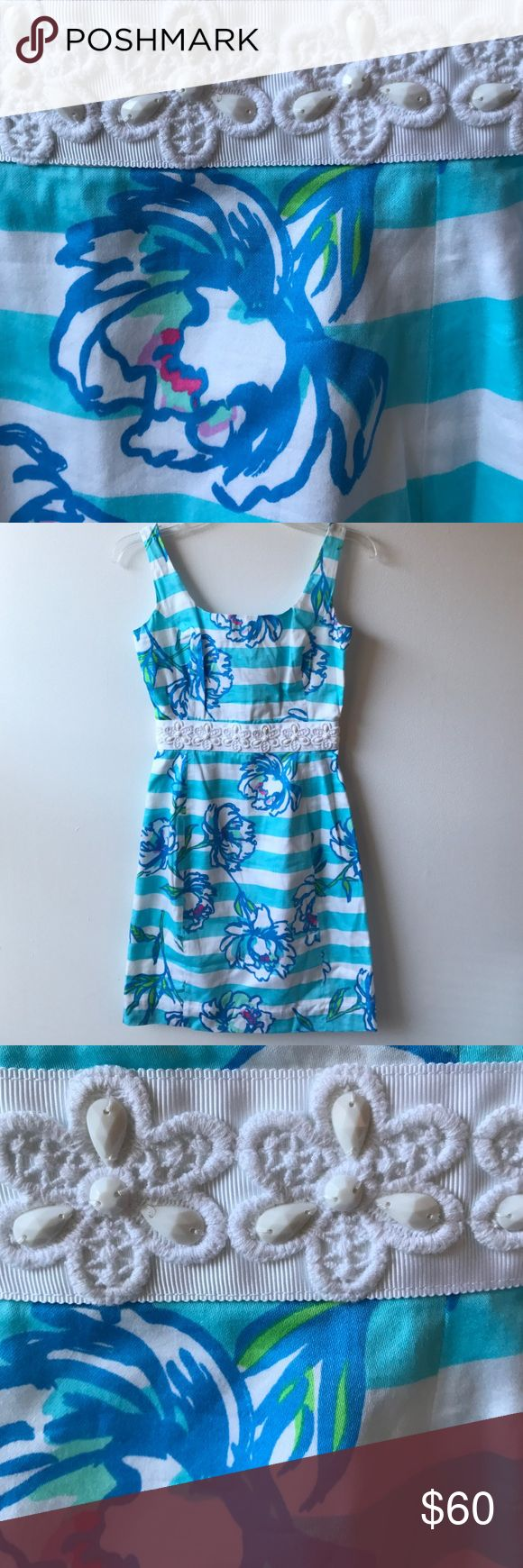 Lilly Pulitzer Serena Dress Tossing the Line Great condition, Lilly Pulitzer Serena Dress Shorely Blue Tossing the Line, sleeveless, sequin beaded waist band, front and back scoop neckline, fitted silhouette, back zip closure, fully lined 100% cotton, size 00 Lilly Pulitzer Dresses