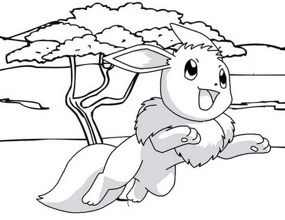 Eevee Jumping Coloring Page Of Pokemon Coloring Pages Eevee Pokemon
