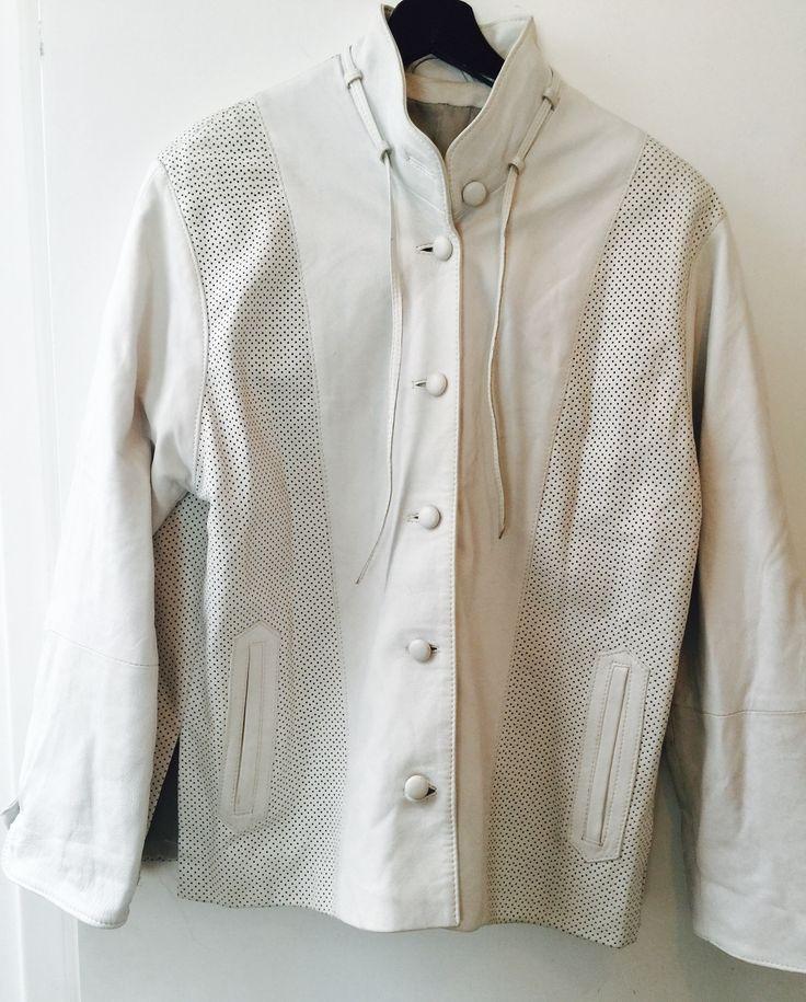 White Leather elegant jacket size M