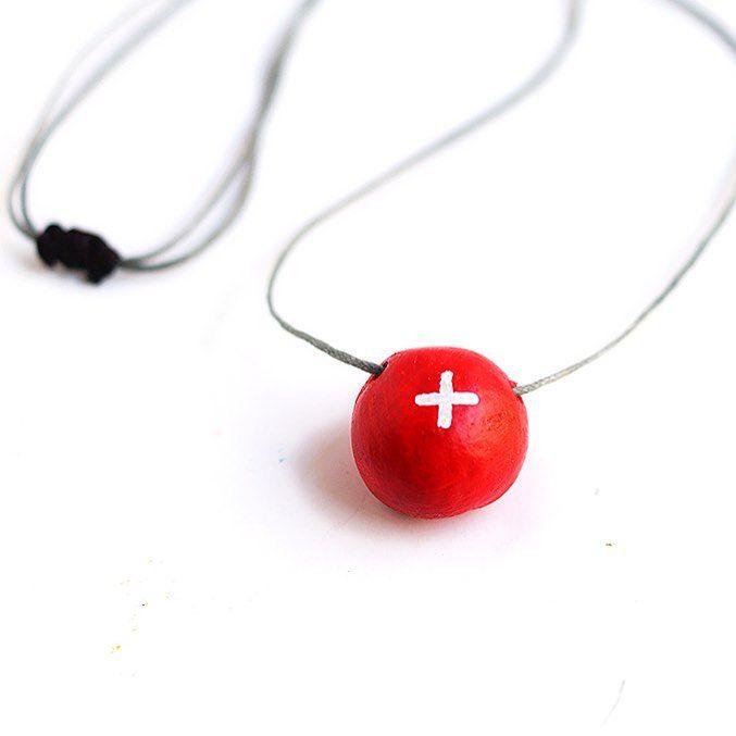 """Red cross clay pendant"" Anna Spathari"